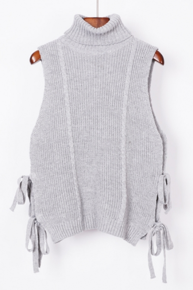 Fashion Turtle Neck Sleeveless Tied Sides Plain Pullover Sweater