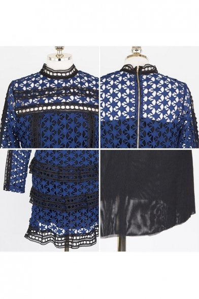 New Sexy Hollow Out Mock Neck Long Sleeve Mini Lace PatchworkTiered Dress
