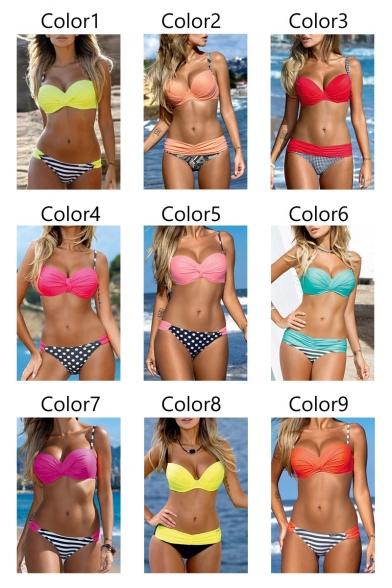 Push Up Spaghetti Straps Top Striped Printed Side String Bottom Bikini Swimwear