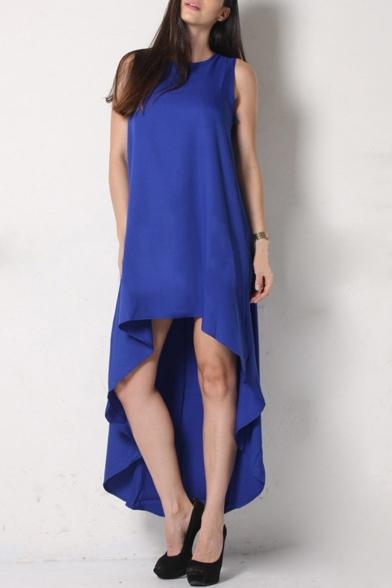 7fd938e60b3 Round Neck Sleeveless Plain Oversize High Low Hem Maxi Dress -  Beautifulhalo.com