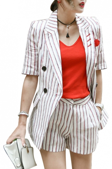 8a54535261 New Arrival Vertical Striped Printed Lapel Collar Short Sleeve Blazer  Shorts Set ...