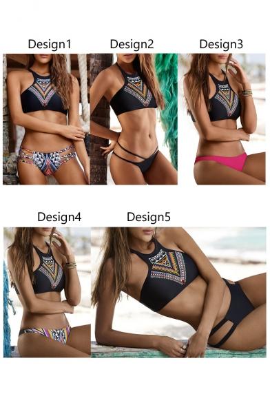 Women's Fashion Tribal Printed Color Block Cutout Sides Bikinis