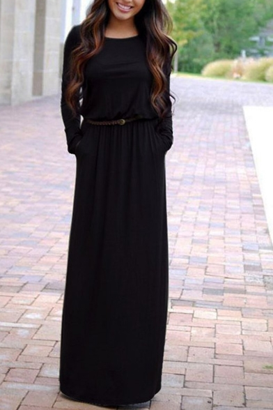 Casual Long Sleeve Round Neck Belt Waist Maxi T-Shirt Dress with Pockets