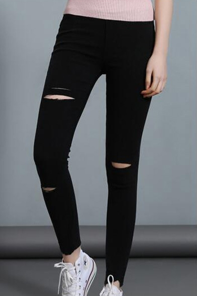 New Fashion Ripped Hollow Out Elastic Waist Basic Plain Skinny Pants