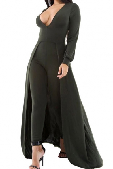 14f3e9abbf06 New Stylish Sexy Plunge V-Neck Long Sleeve Plain Jumpsuits with  Swallow-Tailed Hem