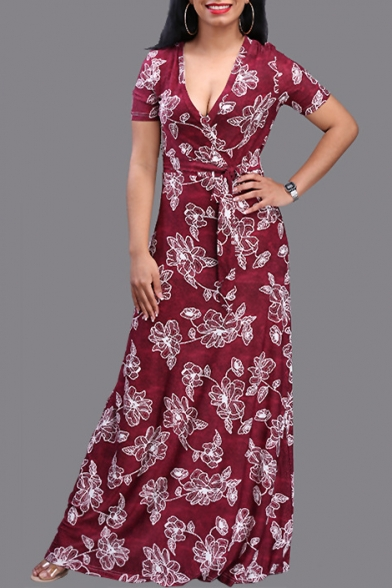 Plunge Neck Short Sleeve Floral Printed Tie Waist Maxi Beach Holiday Dress