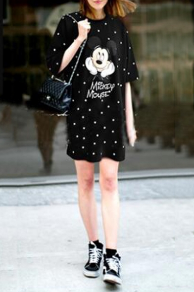 818cc872ed6d0c ... Cartoon Mickey Mouse Printed Round Neck Short Sleeve Mini T-Shirt Dress