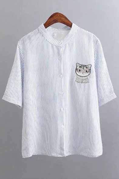 Collarless Half Sleeve Striped Cat Printed Loose Buttons Down ...