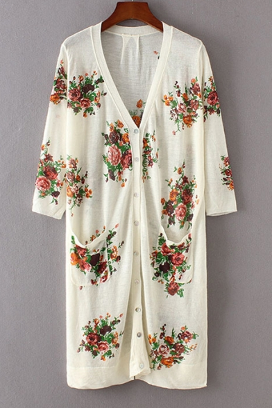 Floral Printed V-Neck 3/4 Length Sleeve Single Breasted Tunic Cardigan with Pockets