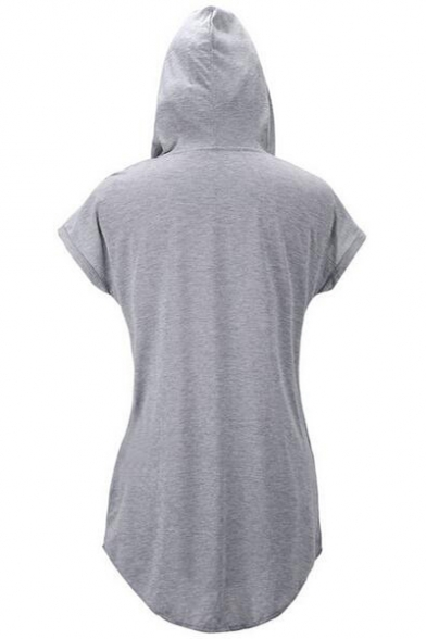 Women's Hooded Short Sleeve Plain Mini Sweatshirt Dress