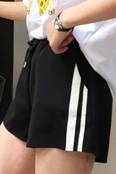 Casual Leisure Drawstring Waist Striped Printed Side Loose Sports Shorts