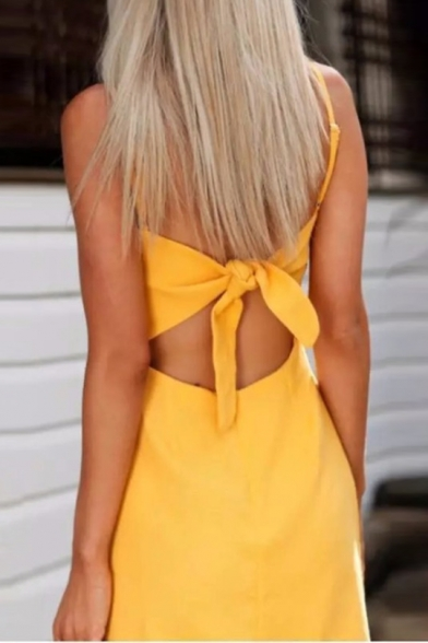 Fashion Spaghetti Straps Sleeveless Tied Back Plain Mini Cami Dress