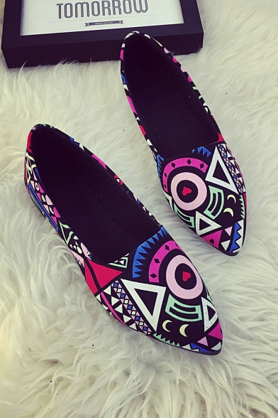 Fashion Women's Color Block Printed Pointed Toe Flat Shoes