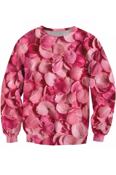 Round Neck Long Sleeve Digital Petals Pattern Pullover Sweatshirt