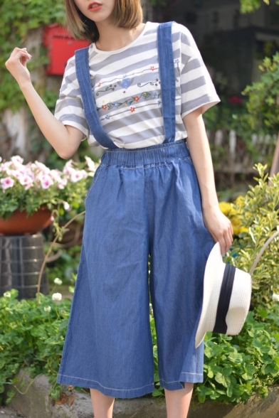 Basic Leisure Plain Straps Loose Casual Wide Legs Fashion Overalls Pants