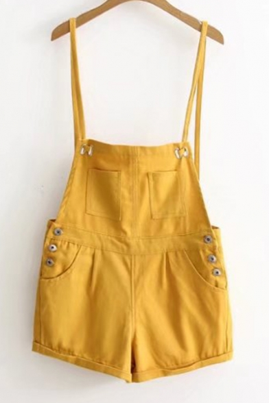 Basic Simple Plain Buttons Down Side Casual Overalls with Pockets