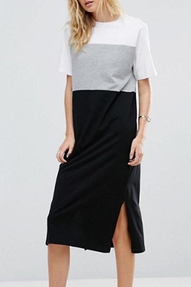 8f1846d5acb Color Block Round Neck Short Sleeve Split Side Midi Leisure T-Shirt Dress  ...