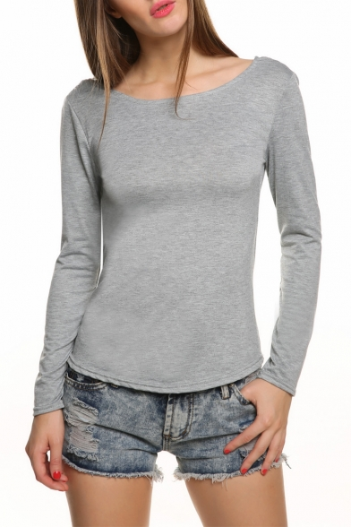 Hot Fashion V Open Back Boat Neck Long Sleeve Lace Trim Pullover T ...