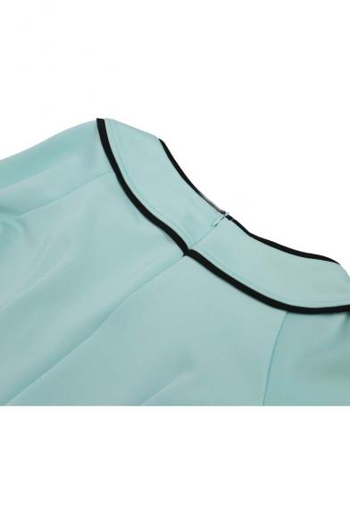 OL with Shoulder Sleeve Bow Half Bodycon Midi Off the Plain Dress Stylish vxUtrXwv