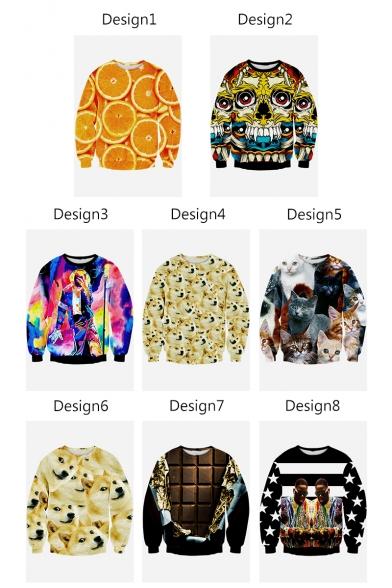 Orange Sleeve Printed Neck Sweatshirt Pullover 3D Long Unisex Round 5wBzqpz
