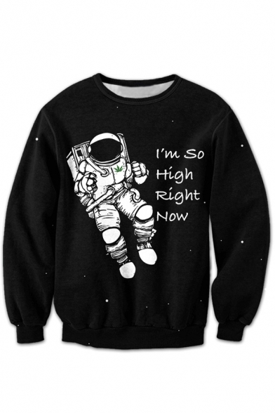 Graphic Sleeve Cartoon Round Astronaut Long Unisex Sweatshirt Pullover Printed Neck Fx7EfqA