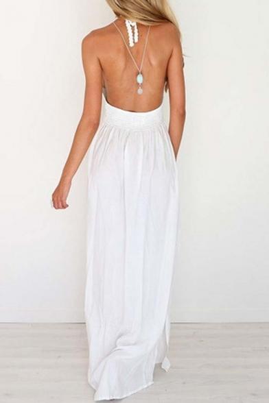 Women's Halter V-Neck Sleeveless Cutout Waist Open Back Plain Maxi Dress