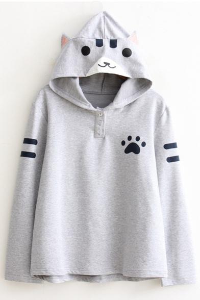 Cute Cartoon Cat Printed Hooded Long Sleeve Striped Hoodie