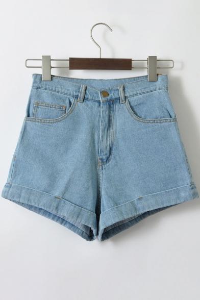 Fashion Simple High Waist Turn Up Plain Denim Shorts