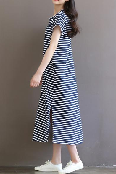0e4656fd315 ... Retro Striped Print Round Neck Short Sleeve Cotton Maxi Leisure T-Shirt  Dress ...