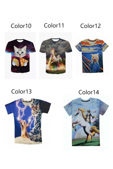 Cat Stylish Neck T Printed Short Shirt Sleeve Cartoon Round Digital UaxqUFr