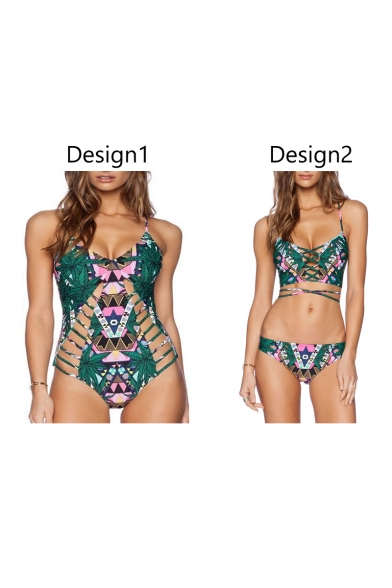 Printed amp; Hollow Spaghetti Top One Straps Tribal Bottom Out Bikini Swimwear Piece dwXqxTB
