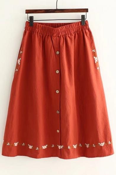 Vintage Embroidery Pattern Single Breasted Elastic Waist Midi A-Line Skirt