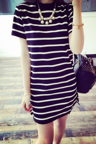 Leisure Striped Color Block Short Sleeve Round Neck Mini T-Shirt Dress