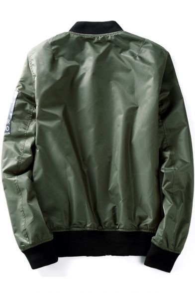 Letter Printed Long Sleeve Stand Up Collar Zip Placket Reversible Bomber Jacket