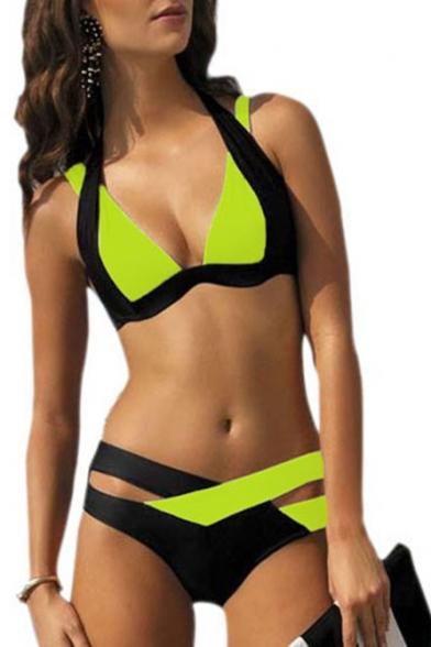 New Fashion Color Block Halter Neck Cut Out Bikini Swimwear