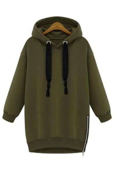 Oversize Long Sleeve Plain Zip Design Side Leisure Tunic Hoodie