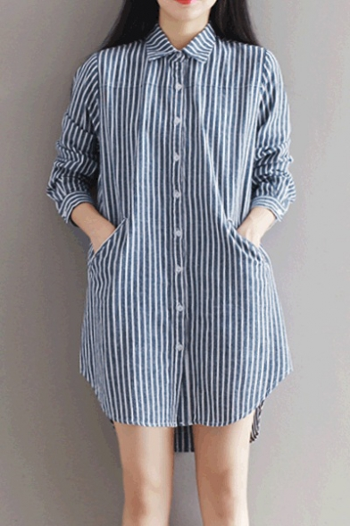 a45004864798 Women's Single Breasted Lapel Long Sleeve High Low High Striped Shirt Dress  with Pockets ...