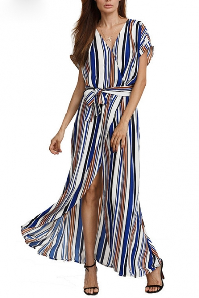 Women's Striped Color Block V-Neck Wrap Front Split Front Belt Waist Asymmetric Dress
