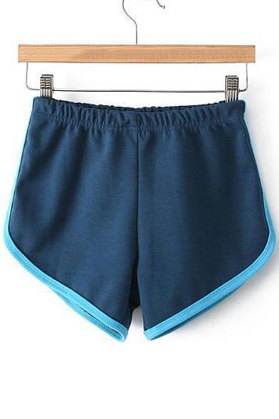 Fashion Contrast Trim Elastic High Waist Sport Shorts ...