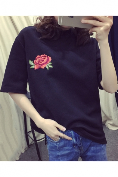 Fashion Embroidery Floral Pattern Short Sleeve Round Neck Tee