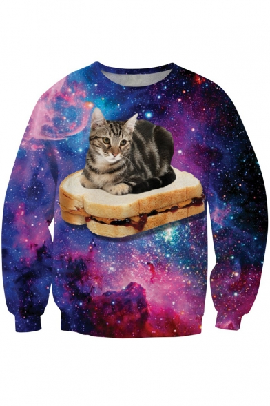Galaxy Cat Pattern Round Neck Long Sleeve Loose Casual Sweatshirt
