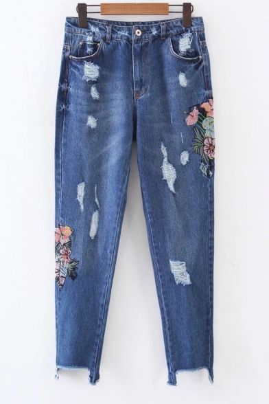 Ripped Floral Embroidered Asymmetrical Cuff Skinny Jeans