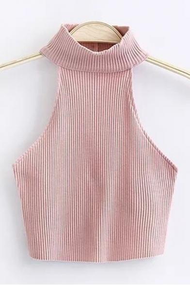 Sexy Halter Sleeveless Open Back Sleeveless Plain Cropped Knit Tank