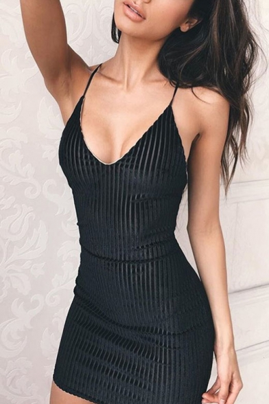 Bodycon Back Sexy Slip Crisscross Dress Open Plain Mini pq6PP1w