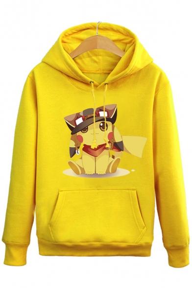 8cf6470ff Cute Cartoon Pikachu Printed Long Sleeve Hoodie Sweatshirt with One Pocket