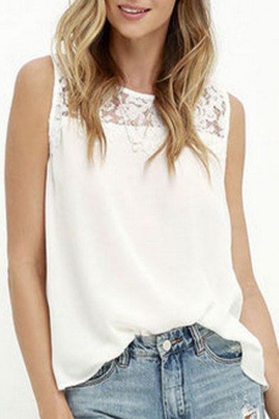 Fashion Blouse Neck Round Plain Chiffon Hot Sleeveless Patched Lace zUwBxRB