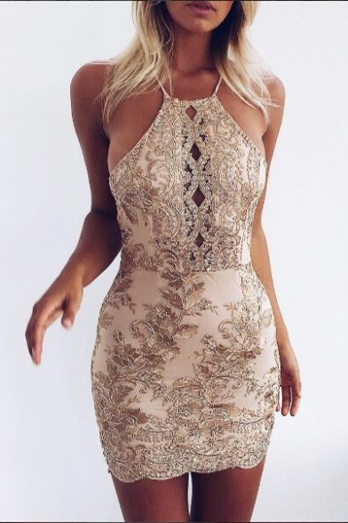 Sexy Spaghetti Straps Sleeveless Floral Appliqued Mini Bodycon Dress