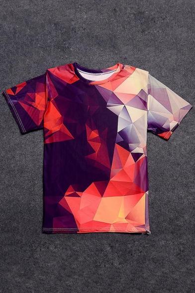 Hot Fashion 3D Mirror Pattern Round Neck Short Sleeve Loose T-Shirt