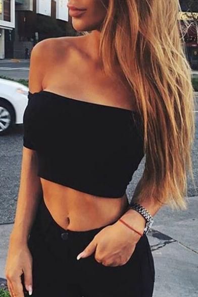 Hot Fashion Off The Shoulder Short Sleeve Plain Cropped T-Shirt