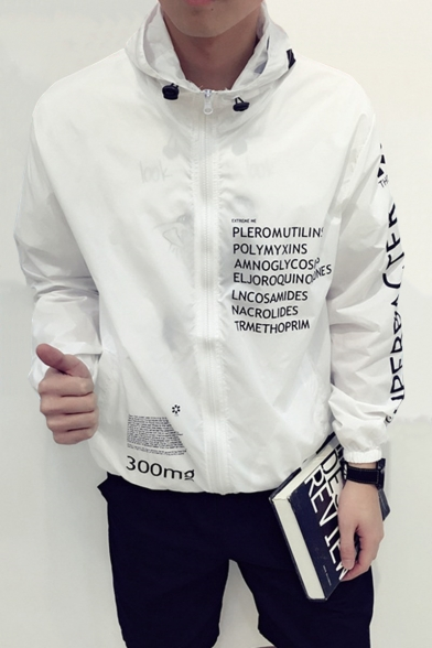 New Arrival Long Sleeve Hooded Zip Placket Letter Printed Fashion Coat
